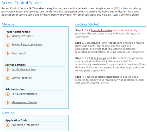 AppFabric ACS settings