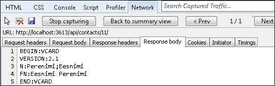 Single vCard response from Web API