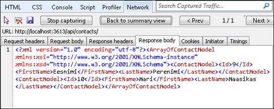 Response to XML request