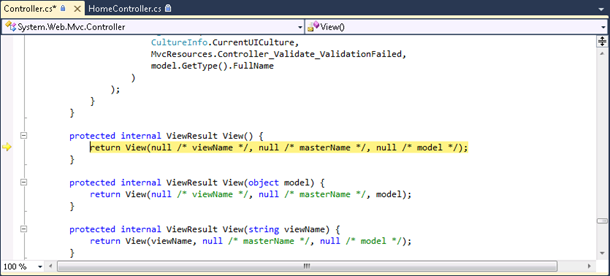 ASP.NET MVC controller source code