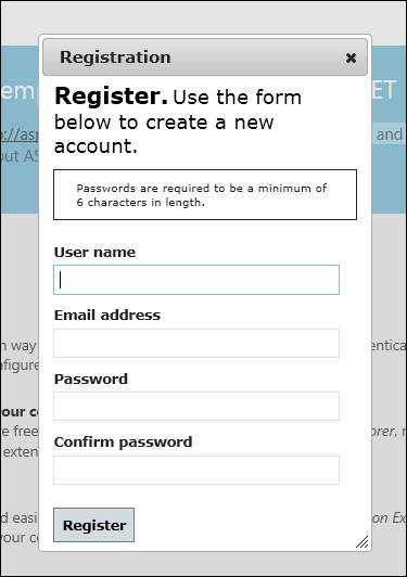 ASP.NET MVC 4 register form