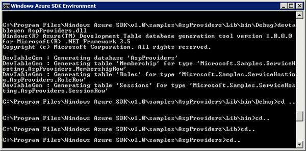 Azure development storage table generation