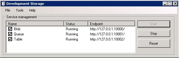 Windows Azure development storage works