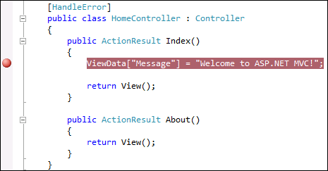 Breakpoint in custom ASP.NET MVC code