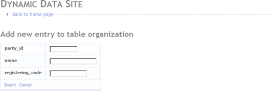 Data entry form for organizations