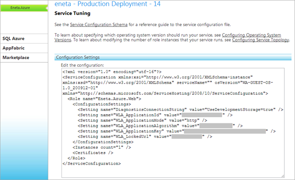 Windows Azure web role configuration