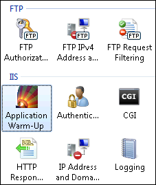 IIS Application Warm-Up is selected