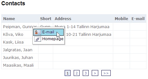 jQuery context menu for contacts table