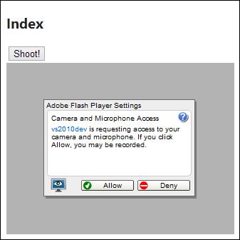 You need Flash to make webcam work