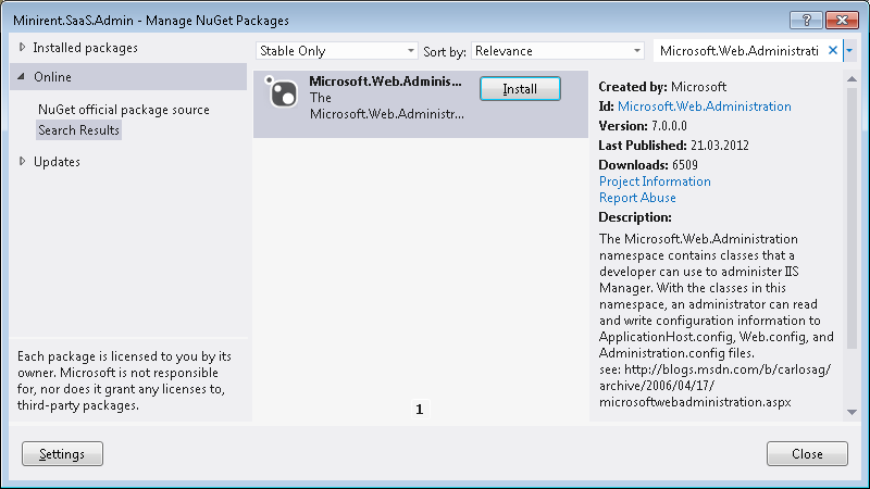 Microsoft.Web.Administration NuGet package