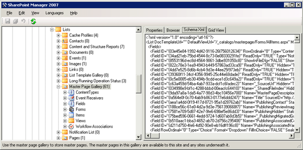 SharePoint Manager 2007 - List schema