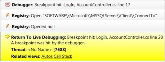 Visual Studio: Debug history expanded