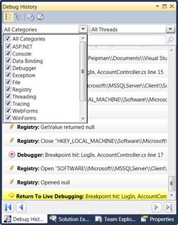 Visual Studio: Debug history