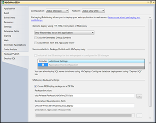 Visual Studio: Package and publish settings