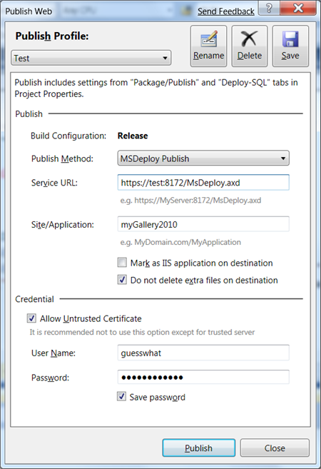 Visual Studio: Publish using MSDeploy