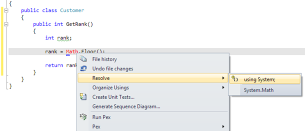 Visual Studio: Resolve reference