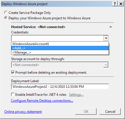 Windows Azure deployment settings