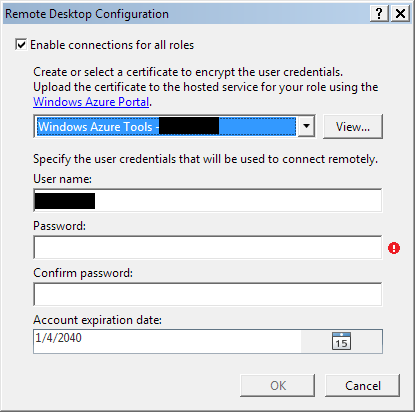 Windows Azure remote desktop settings