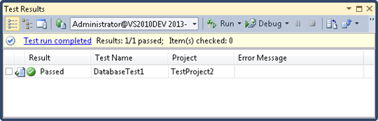 Simple database unit test passed