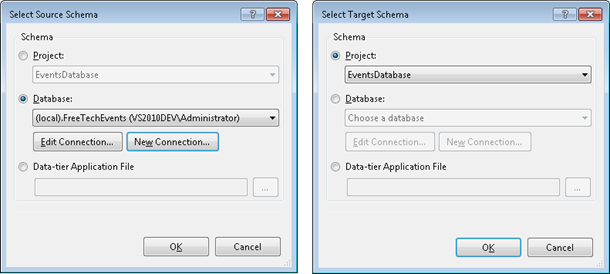 Select source and target schema
