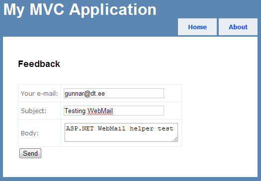 WebMail feedback form