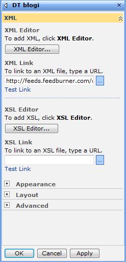 SharePoint XML web part properties