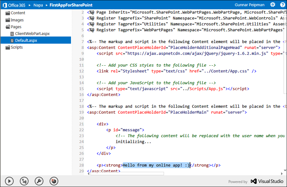 """SharePoint 2013 """"Napa"""" tools: Online IDE"""