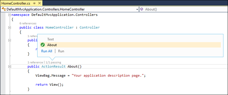 Visual Studio 2013: Test information