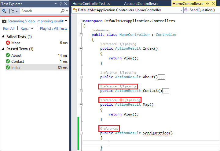 Visual Studio 2013: Tested methods