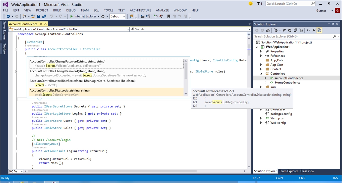 Visual Studio 2013: Lens view to references