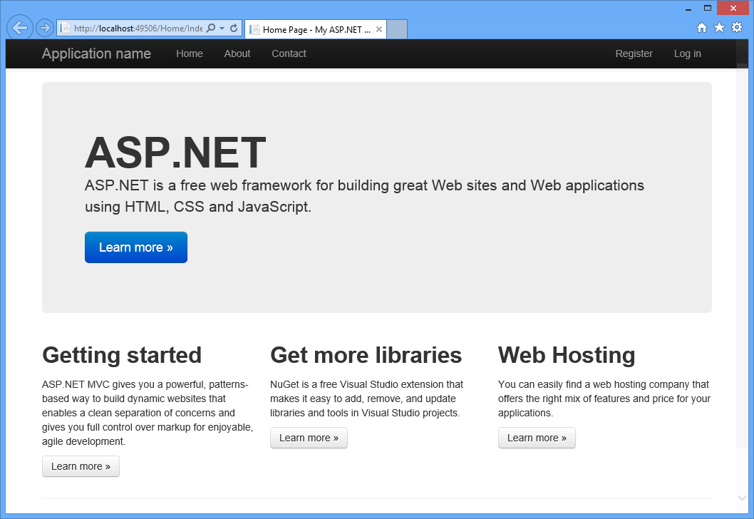 Visual Studio 2013: Default ASP.NET MVC web application