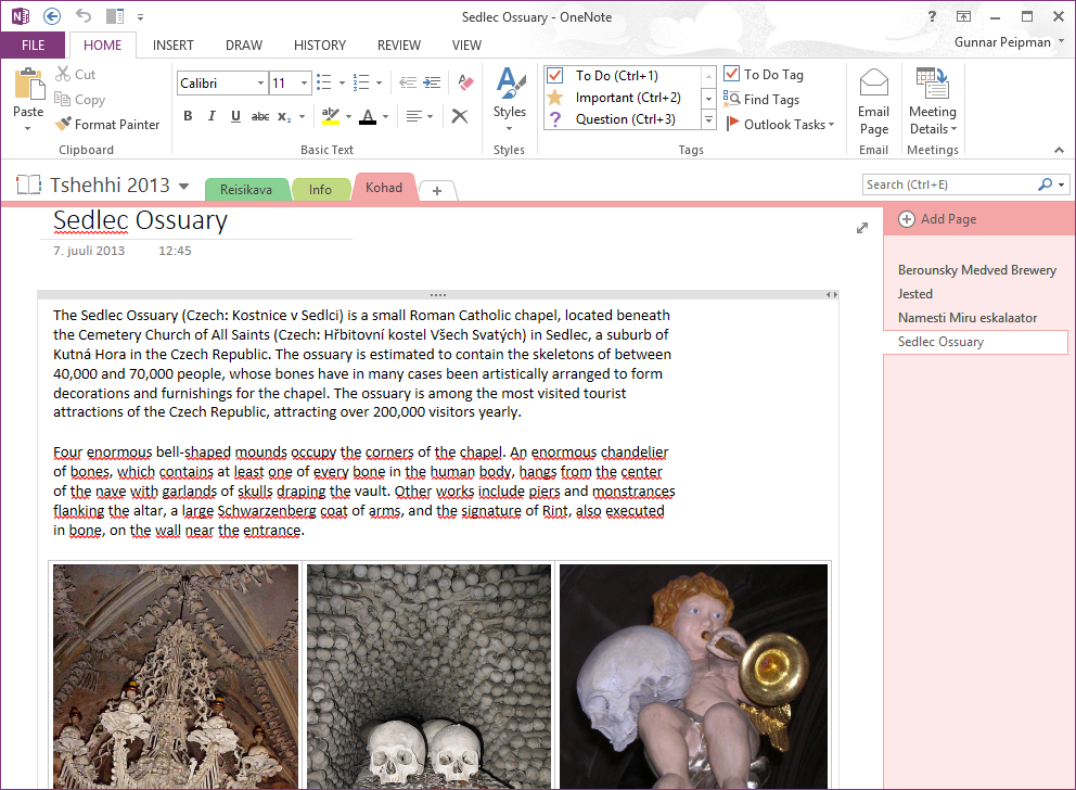 OneNote: Information page for Sedlec ossuary