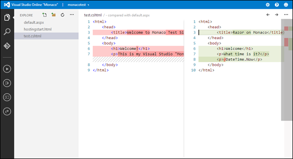Visual Studio Online: Comparing files