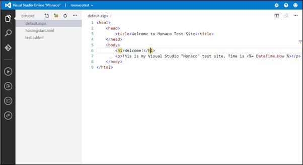 Visual Studio Online: Simple ASP.NET page