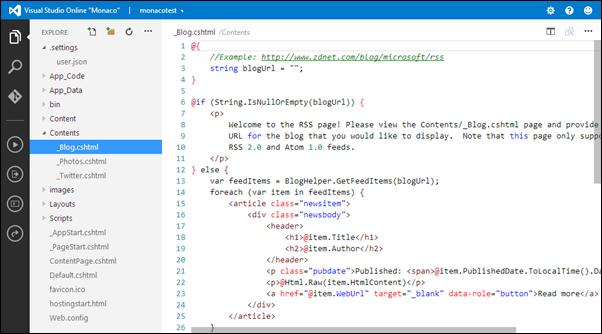 Visual Studio Online: WebMatrix personal site
