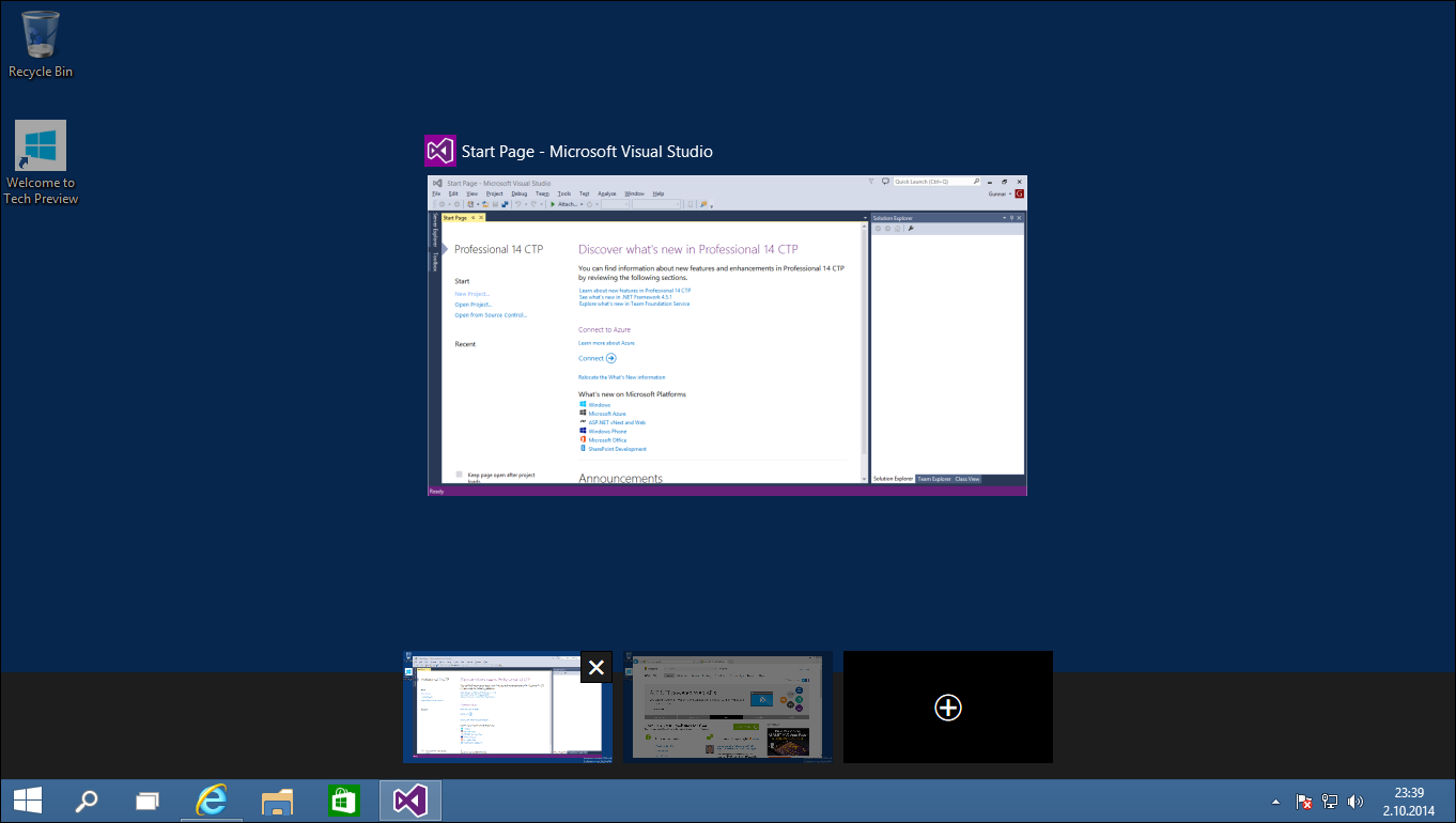 Windows 10: Task view