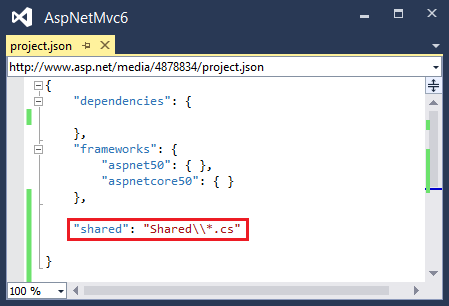 ASP.NET 5: Sharing code to other projects