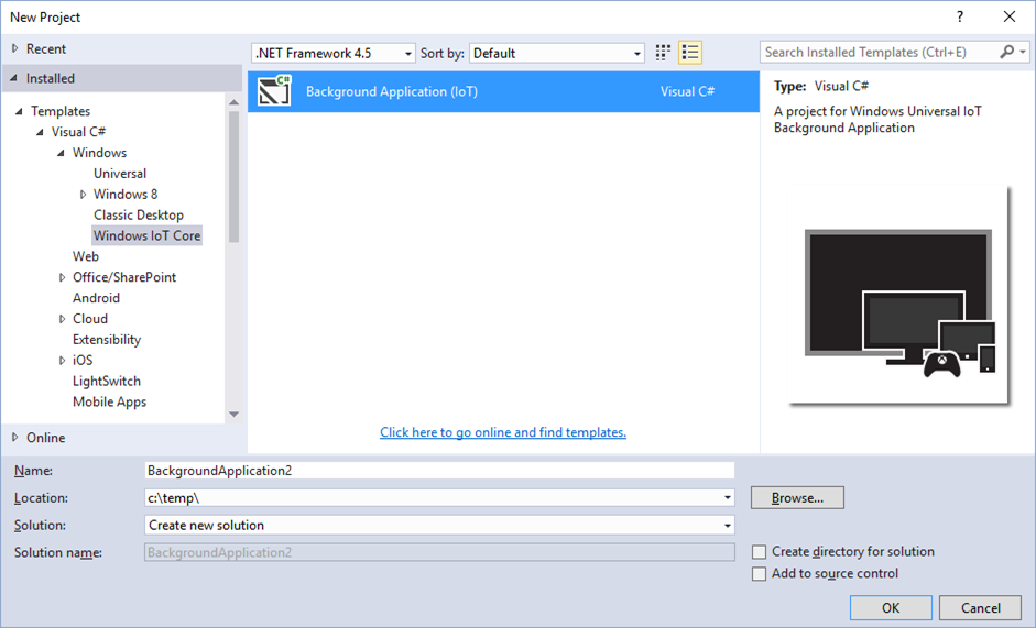 Visual Studio 2015: Create new Windows IoT Core application