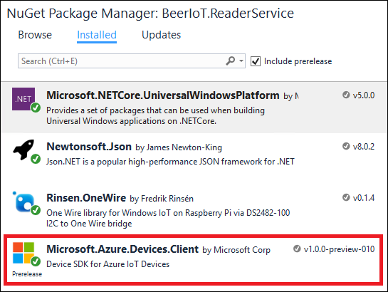 Adding Microsoft.Azure.Devices.Client package from Nuget