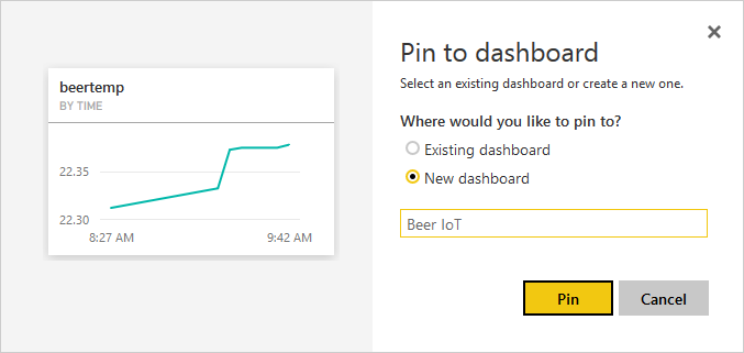 Power BI: Create dashboard and add report widget