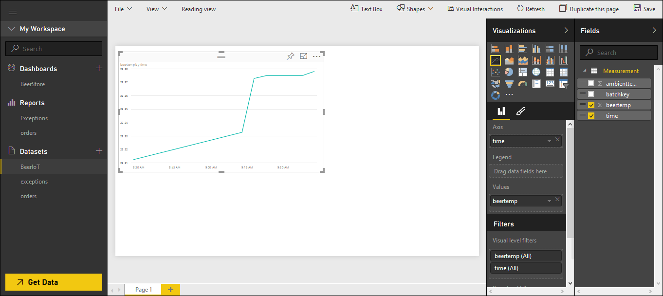 Power BI: Configure temperatures chart