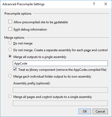 ASP.NET precompile settings