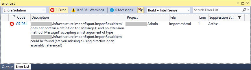 View building error in Visual Studio