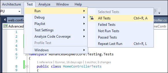 Visual Studio: Running tests