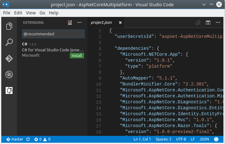 Visual Studio Code: Install C# plug-in