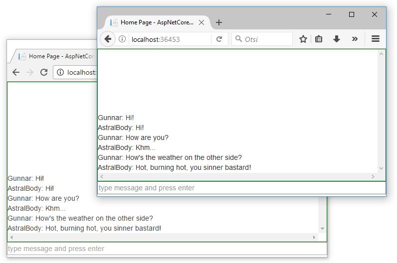 ASP.NET Core WebSocket chat room in action