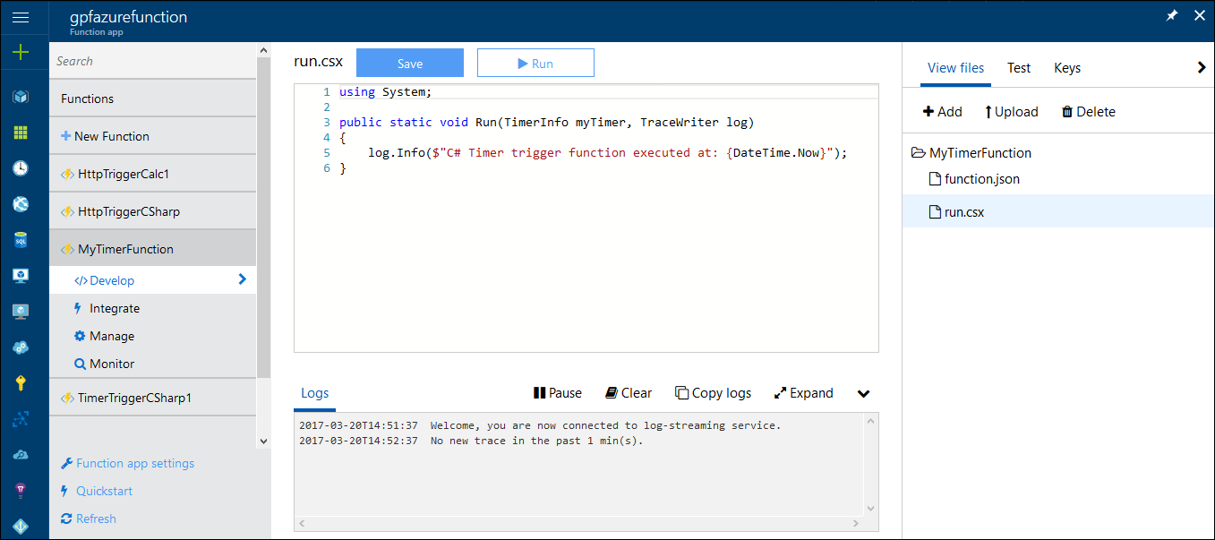Azure Functions: Function editor