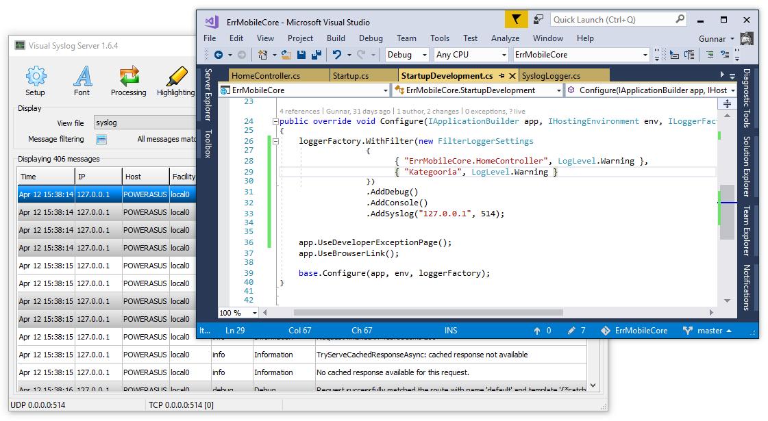 ASP.NET Core: Logging to Syslog server