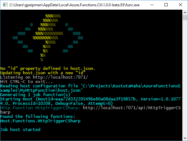 Azure Functions CLI: Running HTTP function
