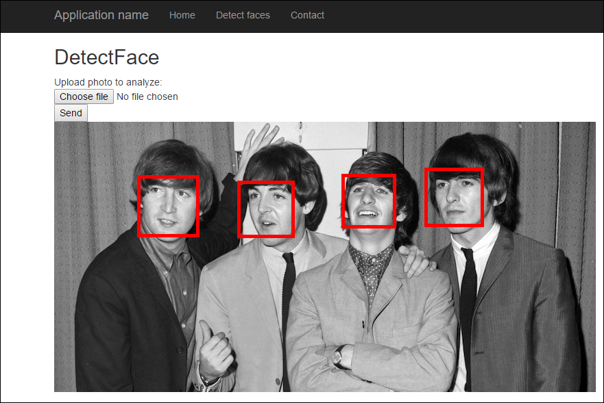 Faces of The Beatles are detected by face detection API